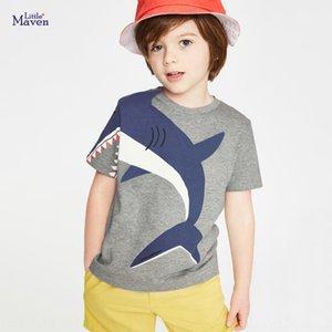 Pouco maven verão novo estilo de manga curta T-shirt T-shirt dos desenhos animados de algodão infantil das crianças