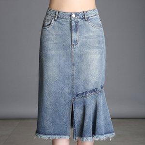 Denim Skirt 2020 Bag Hip de New Style Asymmetric Fishtail Skirt Burr Magro Slimming Temperamento Mulheres Midi-saia