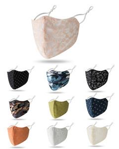 Rosto Algodão Máscara camuflagem Flor Lace reutilizável lavável Unisex Mask Costume Design cara em estoque