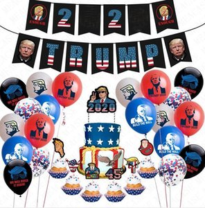 President Trump 2020 Flags Latex Confetti Balloons 24pcs pack Trumpet Birthday Party Pull Flag String Cartoon Cake Cards Accessries D72202