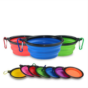Dog Cat Feeding Bowls Pet Water Dish Feeder Travel Portable Silicone Bowl with Hook Collapsible Expandable Lightweight Foldable Tools CLSK53