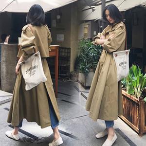 New Autumn 2020 Women's long windbreaker Windbreaker lace coat lace loose waist mid-long overknee skirt slim coat