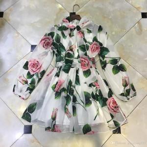 2020 printemps et en été nouveau rétro défilé de mode européen et américain rose imprimer robe en mousseline de soie élégant petit tempérament vacances