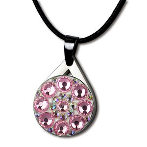Training Aids PINMEI Crystal Ball Mark Golf Necklace Sets with Black Cotton Cord Bling Golf Markers Necklace Gifts for Ladies Children Go...