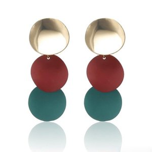 Statement Circle Drop Earrings 3Color Uneven Round Metal Wind Chimes Earring for Women Geometric Alloy Earrings Jewelry Christmas Gift