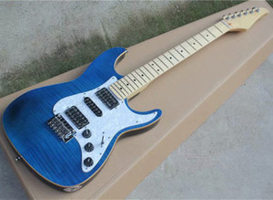 Blue electric guitar with HSH pickups,Flame maple veneer,Maple fingerboard,White pearl pickguard,Can be customized