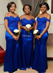 Royal Blue Mermaid African Bridesmaid Dresses Off The Shoulder Appliques Bodice Wedding Guest Dresses Floor Length Customized