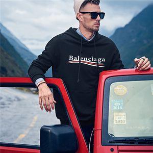 мужчин на дизайнера футболки мужские толстовки High Street Fashion Style Casual с длинным рукавом руно Hoodie Мода Solid Толстовка Balenciaga