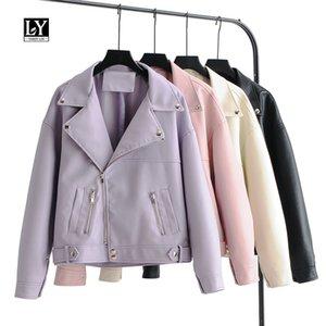 LY VAREY LIN 여성 인조 가죽 재킷 느슨한 디자인 자전거 코트 블랙 핑크 퍼플 짧은 오토바이 가죽 자켓 레이디 PU 착실히 보내다