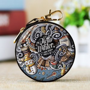 Round Portable Gift Box Christmas Coin Purse Cash Box Xmas Hanging Ornament with Metal Zipper Lobster Headset USB Cable