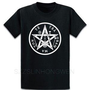 Tetragrammaton Pentagramlar Yıldız Tişörtlü Moda Temel Katı Bahar Mürettebat Yaka Kısa Kollu Harf Grafik Gömlek oluştur