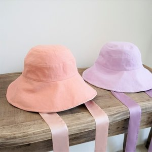 g3H1y Summer pink Purple Yellow floating bucket bucket hat fortified belt sunscreen double-sided front and back belt fisherman hat children'