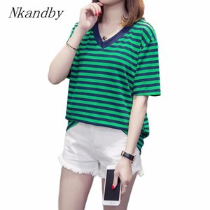 Büyük boy panelli Nkandby Artı boyutu V boyun T gömlek 2020 Yaz Kadın Çizgili Gevşek Kısa kollu Femme 4XL Temel Tshirt Tops