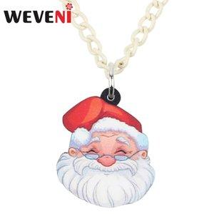 WEVENI Acrylic Christmas Anime Santa Claus Necklace Pendant Chain Choker Festival Decoration Jewelry Women Girls Teens Gift 2020