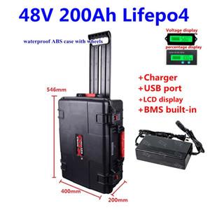 Водонепроницаемый LiFePO4 48V 200Ah 250AH лития LiFePO4 батарея для 4000W солнечной энергии системы мотоциклов хранения Ebike + 10A Charger