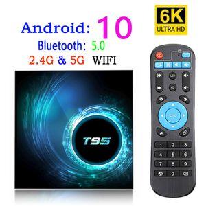 T95 الروبوت مربع التلفزيون الذكية 10 4K 6K 4G 32GB 64GB 2.4G 5G واي فاي بلوتوث 5.0 رباعية النواة مجموعة كبار مربع وسائل الاعلام لاعب 2G 16G
