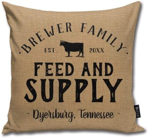not SOLVE GROCERY Personalized Feed Supply Grain Sack ThrowPillow Pillowcase Standard 18inch × 18inch=45cm×45cm Square Pillow Decoration