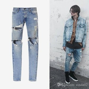 The Man's Light Washing Destruction Trousers Zipper Slim Hole Jeans High Street Hip-hop Fashion Pants Cool