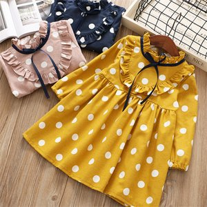0-6 years girl dress 2019 spring cartoon casual full sleeves Dot kid children girls clothing princess dress pink yellow blue S200113