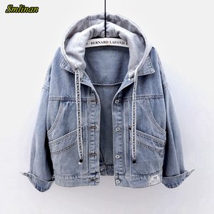 Smlinan Spring Autumn Hooded Denim Jacket Women Fahion Single Breasted Pocket Plus Size Vintage Streetwear Jeans Coat Female CX200725