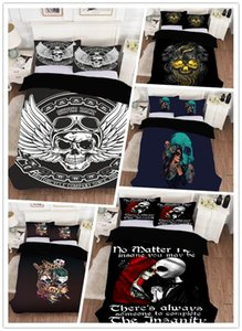 3D Digital Printing New European and American Style Skull HD Bed Sheet Quilt Three-Piece Set Four-Piece Set One Piece