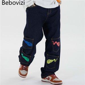 Bebovizi Hip Hip Tadpole druckt Jeanshosen Streetjeanshosen Männer Harajuku Multi-Pocket-Hose Jogger Baumwolle