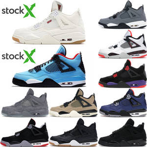 2020 Chegada Nova Jumpman Atacado 4 4S cimento branco Cactus Jack Men Womens Basketball Shoes Neon Tribunal roxo Bred Mens Formadores Sports Sne