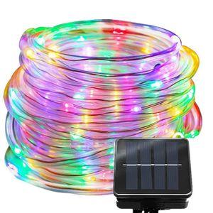 String Luz Solar Power Waterproof 12m Luz LED 100 LED de fio de cobre lâmpada branca quente para o exterior de Natal lâmpada luzes da decoração