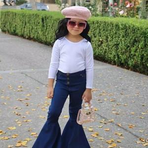 Ins bebê jean criança crianças bebê meninas incendiar calças jeans borla roupas calças jeans kawaii jeans para meninas miúdos Conjunto infantil B456