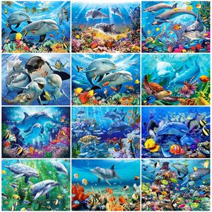 HUACAN 5D Diamond Painting Kits Dolphin Mosaic Decorations For Home Animal Wall Stickers Diamond Art