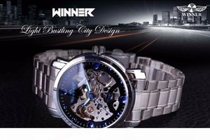 K Winner Blue Ocean Fashion Casual Designer Stainless Steel Men Skeleton Watch Mens Watches Top Brand Luxury Automatic Watch Clock
