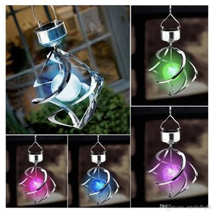 Solar Power Wind Spinner LED Light Outdoor Garden Courtyard Hanging Chime Lamp Lawn Moving Rotating Campanula Light