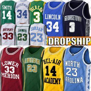NCAA North Carolina Michael Jersey Bel-Air Will Smith İsa Ray Shuttlesworth 7-23 Allen LeBron Iverson James Formalar Merion Black Mamba