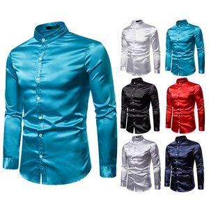 남성 칼라 빅 그리고 키 크고 턱시도 셔츠 무지 한국어 의류 오피스 셔츠 긴 소매 싱글 브레스트 정장 블라우스 스탠드
