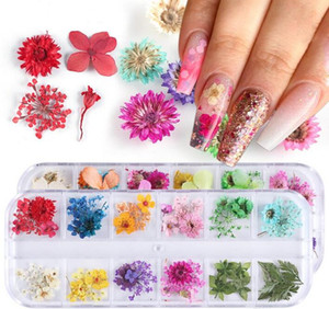 Mix Dried Flowers Nail Decorations Jewelry Natural Floral Leaf Stickers 3D Nail Art Decals Polish Manicure Accessories