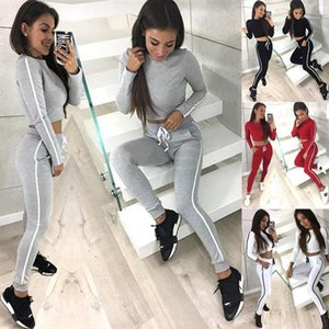 Skinny O-Neck Women 2pcs Casual Long Sleeve Two Piece Sets Striped Exposed Navel Womens Tracksuits Solid Color