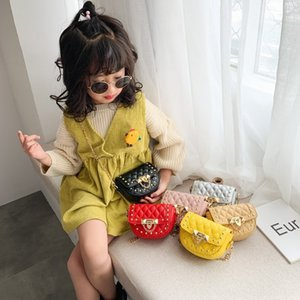 XBy6j Children's chain 2019 new Korean style baby diamond lattice shoulder messenger personalized rivet Shoulder small square bag small squa