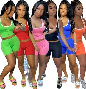 Designer Mulheres Treino Shorts Outfits Sportswear rosa Vest Top + Calças 2 Calças Piece Set Mulher das senhoras sweatsuits Clothes 871