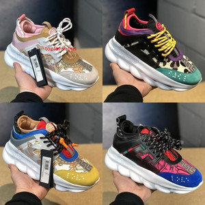 2019 Luxury Chain Reaction Men Women Casual shoes Top quality Black White Mesh Rubber Leather Flat Shoes Designer Sneakers Boots 36-45