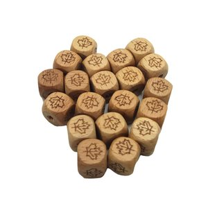 Beech Wood Faceted Printed Leaves Bead 12mm Unfinished Natural Quartet Wooden cube Beads For DIY Nursing Teether Product