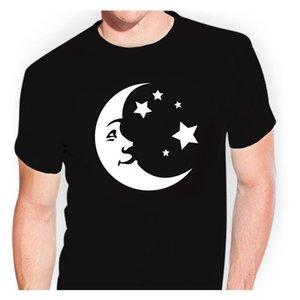 Moon Stars T-Shirt Sticker Decal Men T Shirt Print Cotton Short Sleeve T-shirt