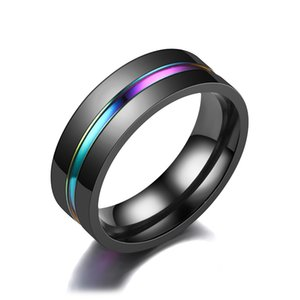 Fashion Carbon Black Men Ring Titanium Wedding Rings for Men Women Colorful Band Plated Stainless Steel Jewelry