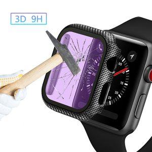 Glas + Abdeckung für Apple-Uhr-Kasten iWatch 38mm 42MM Kohlefaser Stoßstange + Schirm-Schutz Apple-Watch-Serie: 5 4 3 44mm 40MM