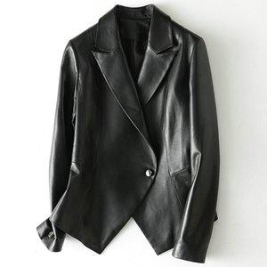 Black Real Genuine Leather Jacket Women Ladies Sheepskin Fur Fur Coat Vintage Spring Autumn Clothes 2020 New Fashion