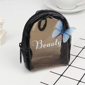 New coreano moda borboleta transparente pvc pequeno criativo Coin Purse batom batom da bolsa da carteira saco de moedas bolsa de armazenamento mini