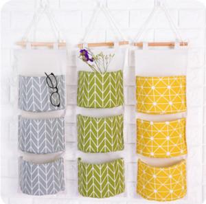 Cute Wall Sundry Cotton Line Hanging Organizer Bag Multi-layer Holder Makeup Rack Jewelry Storage Basket