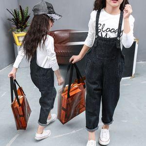 09G22 Girls' Denim 2019 new Korean Harem crawler Jeans style children's jumpsuit medium and large children's pants casual Harlan pants fashi