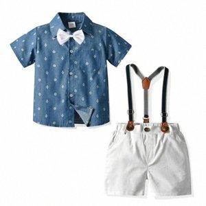 Çocuk Giyim 2020 Yaz Pamuk Çocuk T Gömlek + Şort + Belt 3adet Suits Moda Çocuk Giyim Kısa Kollu xVdO #