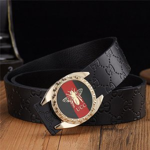 Double G buckle high quality leather belt male leather smooth buckle head pure cowhand designer young Korean version versatile men's belt