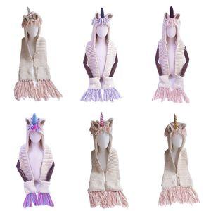 2018 New Autumn And Winter Children's Hat Unicorn Wool Scarf One Cloak Shawl Tassel Warm Winter Baby Girls Cap